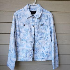 Live A Little  blue printed jacket